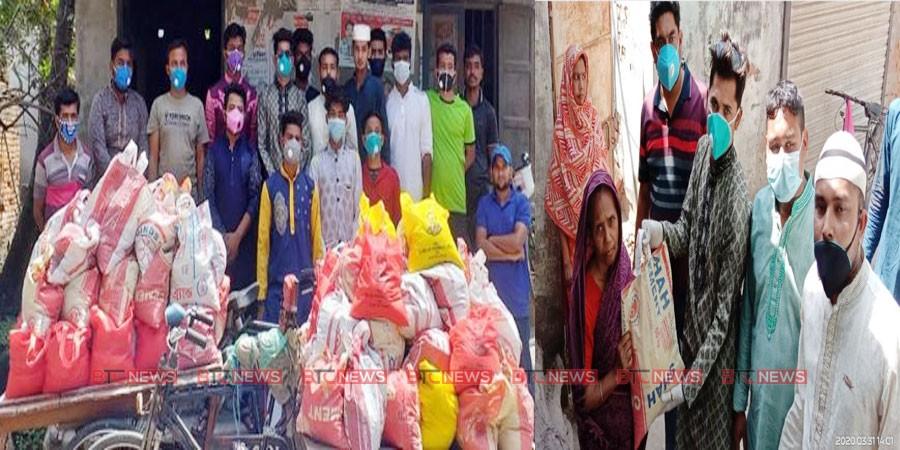 রাজশাহীতে এক যুবকের নিজ উদ্যোগে তিনশত পরিবারকে খাদ্যদ্রব্য প্রদান